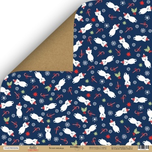 Лист двусторонней бумаги 30x30 от Scrapmir Белый медведь из коллекции  Hello Christmas 10шт.