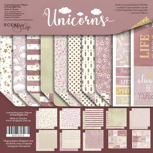 Набор двусторонней бумаги 20х20см от Scrapmir Unicorns 10шт
