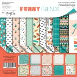 Набор двусторонней бумаги 20х20см от Scrapmir Funny Friends 11шт