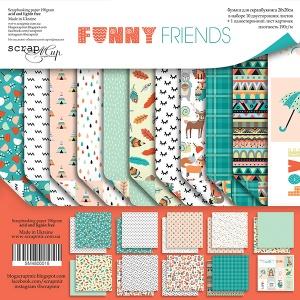 Набор двусторонней бумаги 20х20см от Scrapmir Funny Friends 10шт