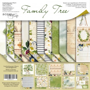 Набор двусторонней бумаги 30х30см от Scrapmir Family Tree 11шт