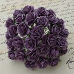Розочки 10мм - 100шт - PURPLE MULBERRY PAPER OPEN ROSES