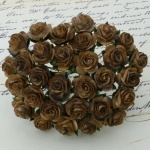 Розочки 20мм - 100шт - 2-TONE CHOCOLATE BROWN MULBERRY PAPER OPEN ROSES