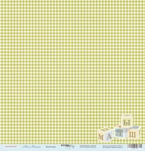 Лист односторонней бумаги 30x30 от Scrapmir Клеточка из коллекции Наш Малыш 10шт