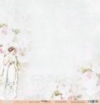 Лист односторонней бумаги 30x30 от Scrapmir Дама с розами из коллекции Нежность 10шт