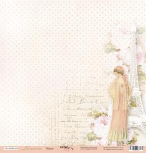 Лист односторонней бумаги 30x30 от Scrapmir Париж из коллекции Нежность 10шт