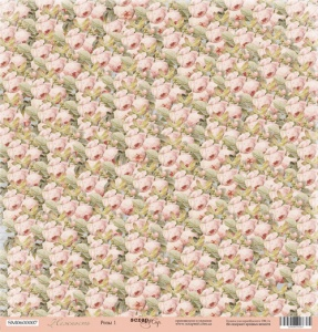 Лист односторонней бумаги 30x30 от Scrapmir Розы 1 из коллекции Нежность 10шт