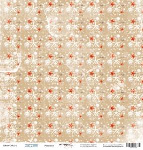 Лист односторонней бумаги 30x30 от Scrapmir Ракушки из коллекции Море 10шт