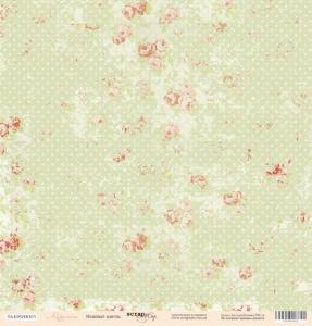 Лист односторонней бумаги 30x30 от Scrapmir Нежные цветы из коллекции Карамель 10шт