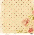Лист односторонней бумаги 30x30 от Scrapmir Розочки из коллекции Любовь 10шт