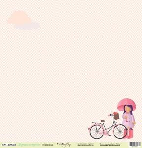 Лист односторонней бумаги 30x30 от Scrapmir Велосипед из коллекции Хорошее Настроение 10шт