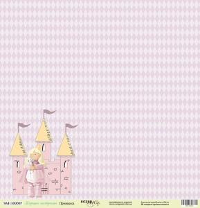 Лист односторонней бумаги 30x30 от Scrapmir Принцесса из коллекции Хорошее Настроение 10шт