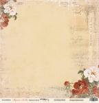 Лист односторонней бумаги 30x30 от Scrapmir Красные цветы из коллекции Музыка Любви 10шт