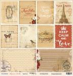 Лист односторонней бумаги 30x30 от Scrapmir Карточки из коллекции Музыка Любви 10шт