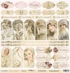 Лист односторонней бумаги 30x30 от Scrapmir Карточки из коллекции Наша Свадьба 10шт