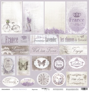 Лист односторонней бумаги 30x30 от Scrapmir Карточки из коллекции French Provence 10шт