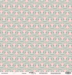 Лист односторонней бумаги 30x30 от Scrapmir Совушка из коллекции Baby Girl 10шт