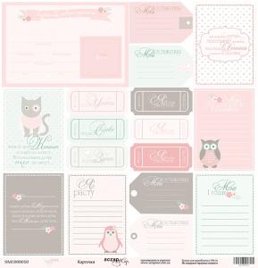 Лист односторонней бумаги 30x30 от Scrapmir Карточки из коллекции Baby Girl 10шт