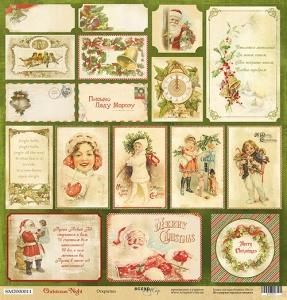 Лист односторонней бумаги 30x30 от Scrapmir Открытки из коллекции Christmas Night 10шт