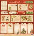 Лист односторонней бумаги 30x30 от Scrapmir Карточки из коллекции Christmas Night 10шт