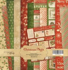 Набор односторонней бумаги 30х30см от Scrapmir Christmas Night 12шт