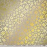 Лист односторонней бумаги с золотым тиснением 30x30 Золотая Метелица от Scrapmir Rustic Winter 10шт.