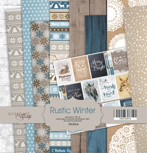 Набор односторонней бумаги 20х20см от Scrapmir Rustic Winter 10шт