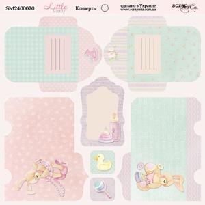 Лист двусторонней бумаги 20х20см Конверты Little Bunny от Scrapmir 10шт