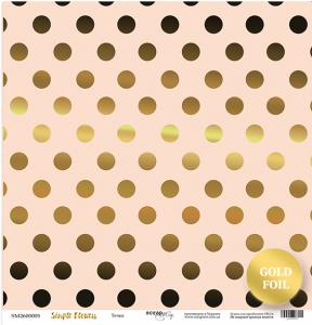 Лист односторонней бумаги с золотым тиснением 30x30 от Scrapmir Точки из коллекции Simple Flowers 10шт.