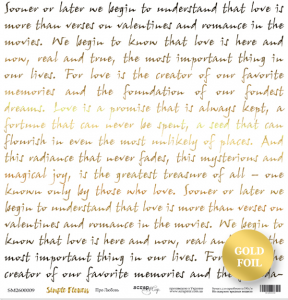Лист односторонней бумаги с золотым тиснением 30x30 от Scrapmir Про любовь из коллекции Simple Flowers 10шт.