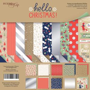 Набор двусторонней бумаги 20х20см от Scrapmir Hello Christmas  10шт.