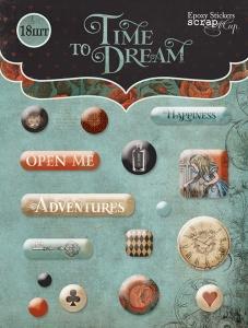 Набор эпоксидных наклеек 16шт от Scrapmir Time to Dream(eng.)