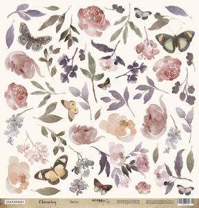 Лист односторонней бумаги для вырезания Цветы 30x30 от Scrapmir из коллекции Charming (Очарование) 10шт