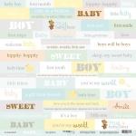 Лист односторонней бумаги 30x30 от Scrapmir Inscriptions (ENG) из коллекции Smile Baby 10шт