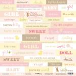 Лист односторонней бумаги 30x30 от Scrapmir Inscriptions (ENG) из коллекции Doll Baby 10шт