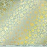 Лист односторонней бумаги с золотым тиснением 30x30 Снежинки Золото от Scrapmir Nordic Spirits 10шт.