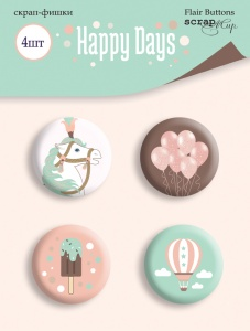 Набор скрап-фишек для скрапбукинга 4шт от Scrapmir Happy Days