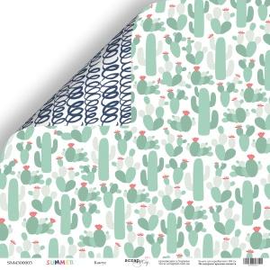 Лист двусторонней бумаги 30x30 от Scrapmir Кактус из коллекции Summer 10шт