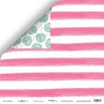 Лист двусторонней бумаги 30x30 от Scrapmir Розовые полосы из коллекции Summer 10шт