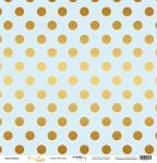 Лист односторонней бумаги с золотым тиснением 30x30 Golden Dots Blue от Scrapmir Every Day Gold 10шт.