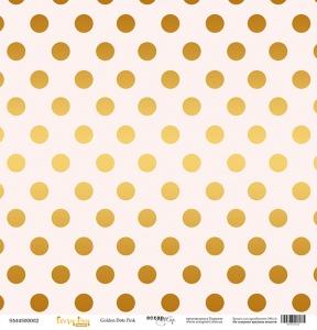 Лист односторонней бумаги с золотым тиснением 30x30 Golden Dots Pink от Scrapmir Every Day Gold 10шт.