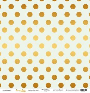 Лист односторонней бумаги с золотым тиснением 30x30 Golden Dots Mint от Scrapmir Every Day Gold 10шт.