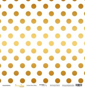 Лист односторонней бумаги с золотым тиснением 30x30 Golden Dots White от Scrapmir Every Day Gold 10шт.