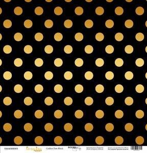 Лист односторонней бумаги с золотым тиснением 30x30 Golden Dots Black от Scrapmir Every Day Gold 10шт.