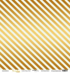 Лист односторонней бумаги с золотым тиснением 30x30 Golden Stripes Mint от Scrapmir Every Day Gold 10шт