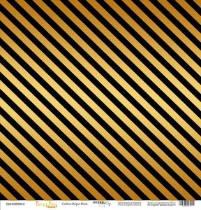 Лист односторонней бумаги с золотым тиснением 30x30 Golden Stripes Black от Scrapmir Every Day Gold 10шт