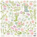 Лист односторонней бумаги для вырезания 30x30 от Scrapmir Цветы из коллекции Pur Pur 10шт