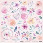Лист односторонней бумаги для вырезания 30x30 от Scrapmir Цветы из коллекции Gentle Morning 10шт