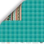 Лист двусторонней бумаги 30x30 от Scrapmir Зелёный плед из коллекции Funny Friends 10шт