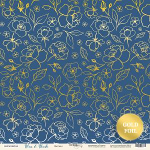 Лист односторонней бумаги с золотым тиснением 30x30 от Scrapmir Цветики из коллекции Blue & Blush 10шт.